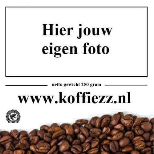 Koffiebonen met jouw foto op het etiket