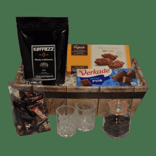 Geschenk met Whisky, Brandy of Rum koffiebonen