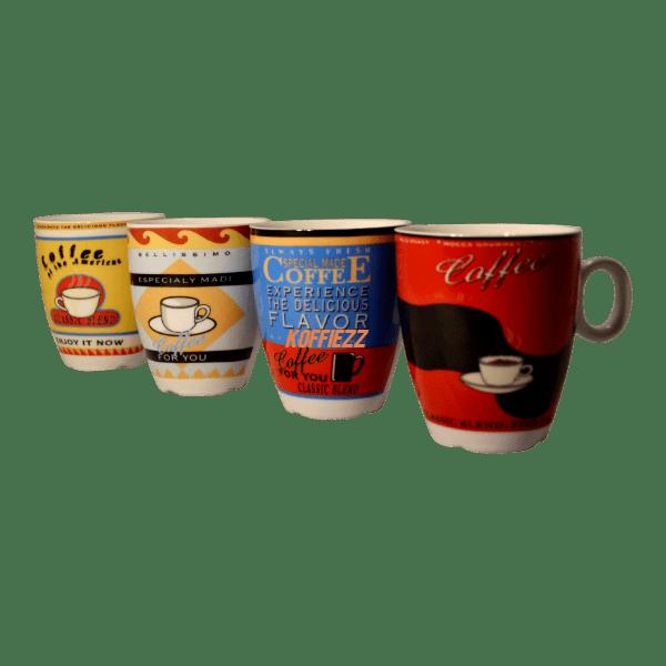 koffiemokjes kleurrijk per 4
